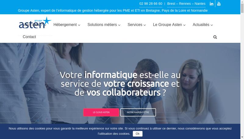 Capture d'écran du site de Groupe Asten