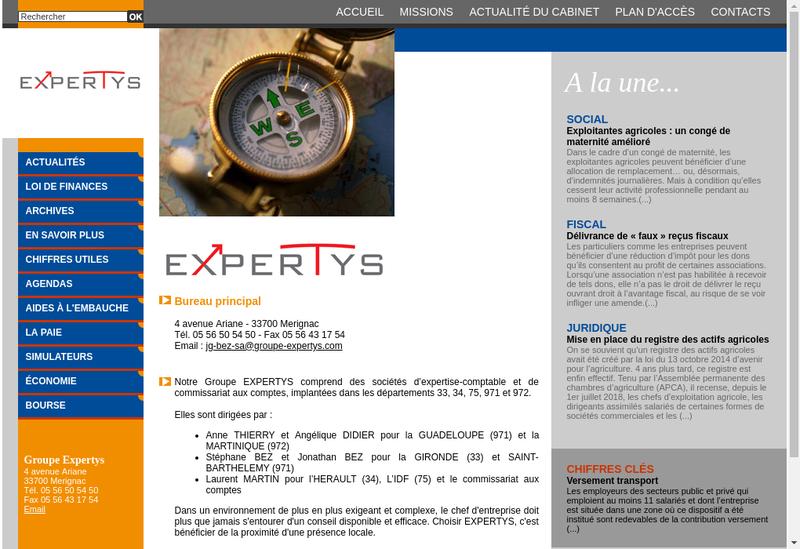 Capture d'écran du site de Expertys