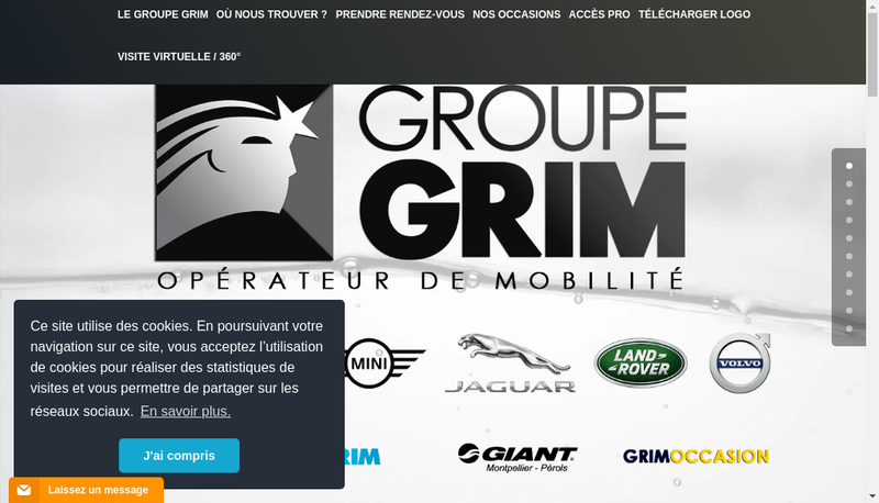 Capture d'écran du site de Grim Passion