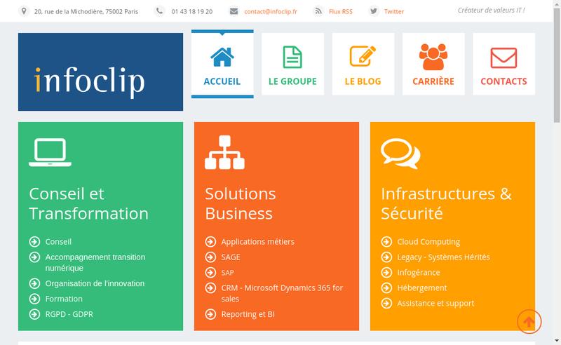 Capture d'écran du site de Infoclip-Abacom
