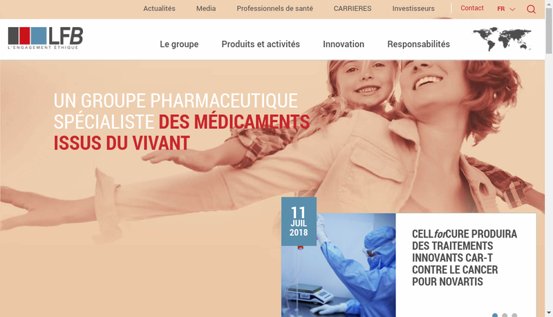 Capture d'écran du site de Lfb Biomedicaments