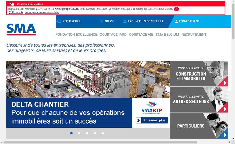 Capture d'écran du site de Sma Vie Btp