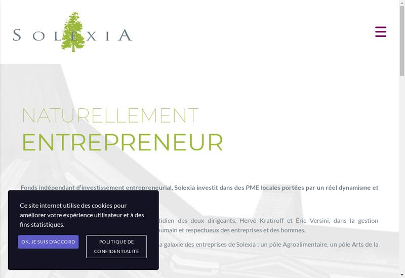 Capture d'écran du site de Solexia Agro