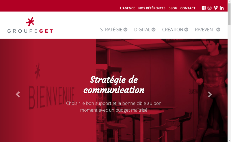Capture d'écran du site de Groupe Get