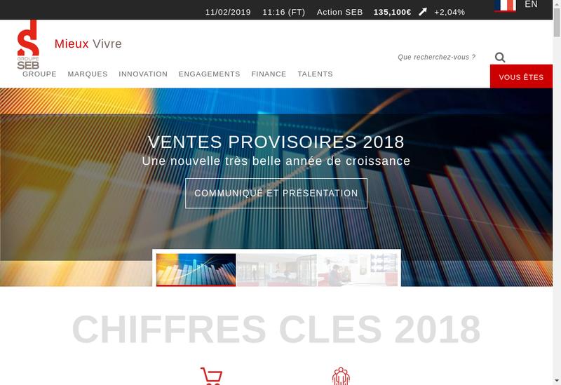 Capture d'écran du site de Groupe Seb France