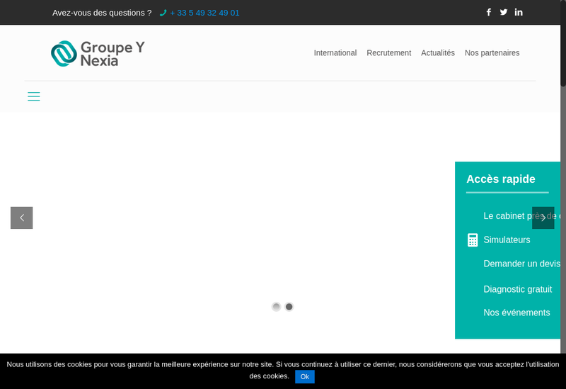 Capture d'écran du site de Groupe Y Nexia