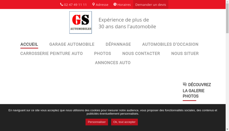 Capture d'écran du site de Gs Automobiles