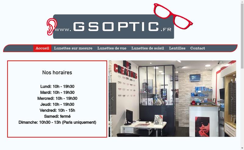 Capture d'écran du site de Gs Optic