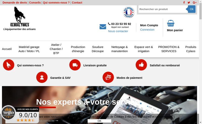 Capture d'écran du site de Global-Tools
