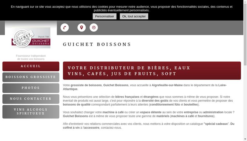 Capture d'écran du site de Guichet Boissons SAS