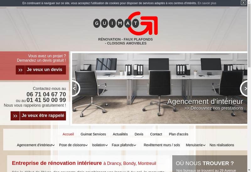 Capture d'écran du site de Guimat Services