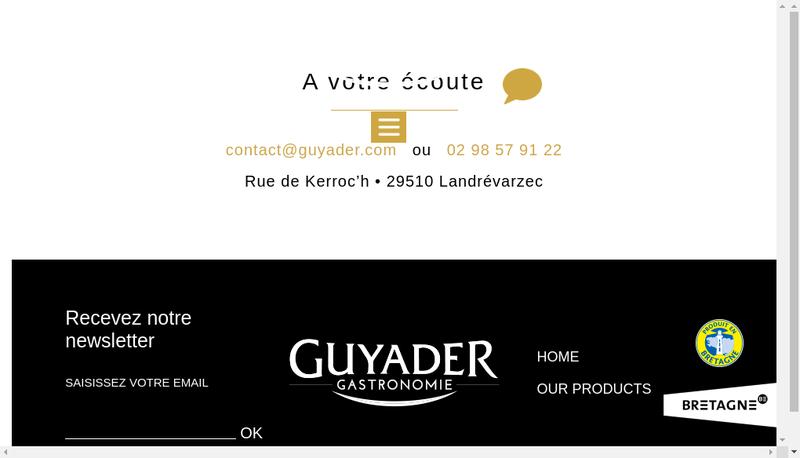 Capture d'écran du site de Guyader Traiteur Frais