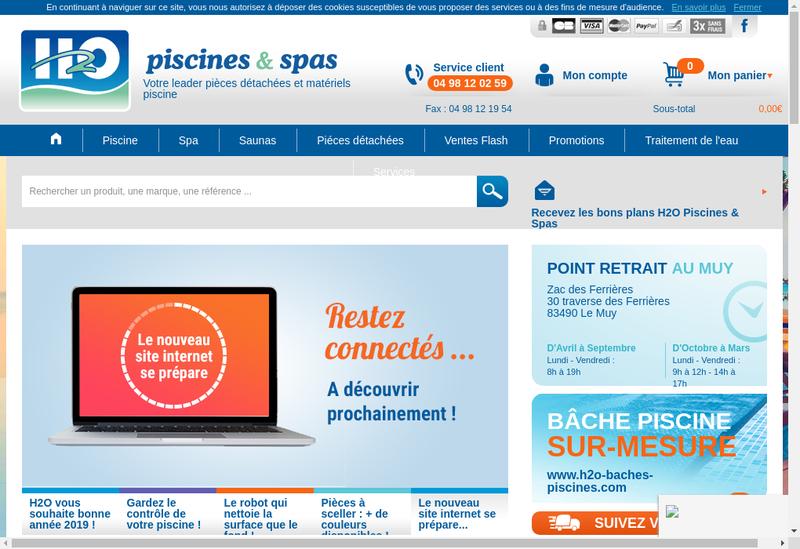 Capture d'écran du site de H2O Piscines et Spas Com