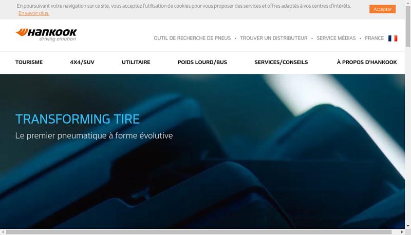 Capture d'écran du site de Hankook France