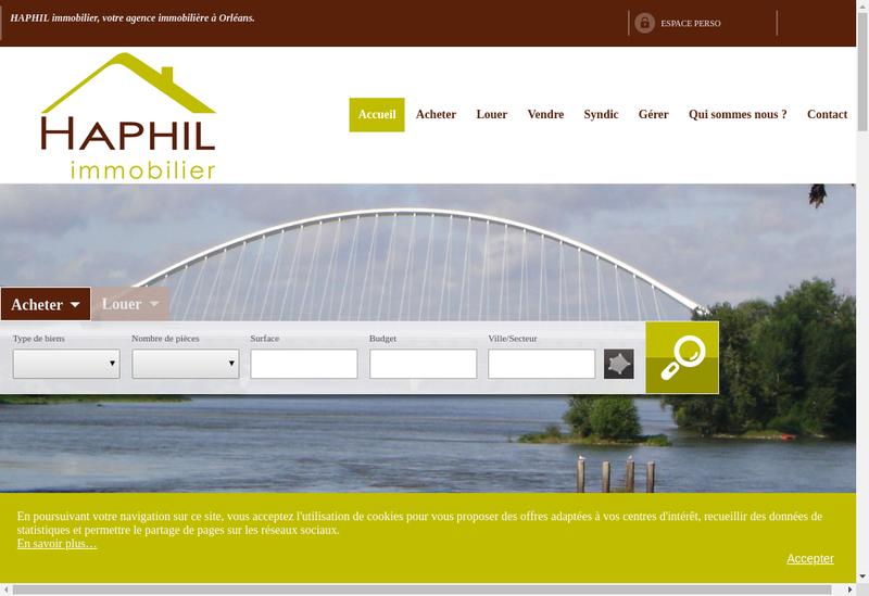 Capture d'écran du site de Haphil Immobilier