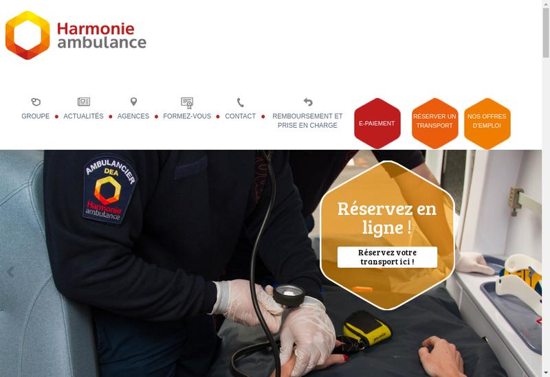 Capture d'écran du site de Harmonie Ambulance