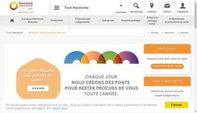 Site internet de Harmonie Mutuelle