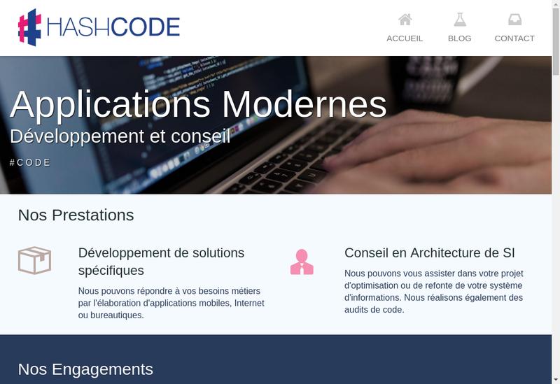 Capture d'écran du site de Hashcode