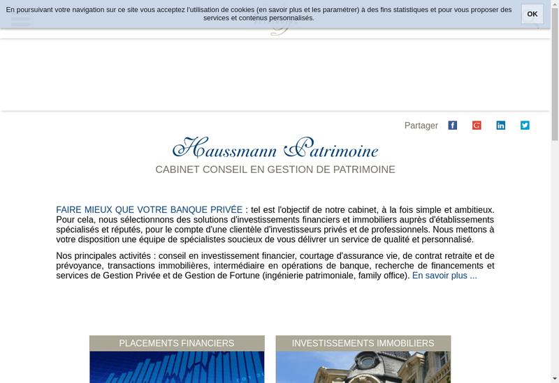Capture d'écran du site de Haussmann Patrimoine