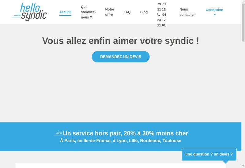 Capture d'écran du site de Hello Syndic