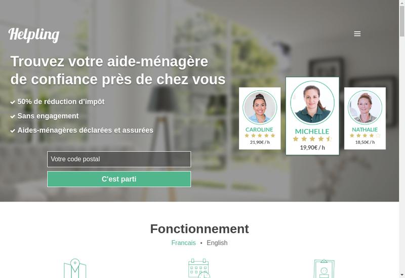 Capture d'écran du site de Helping France