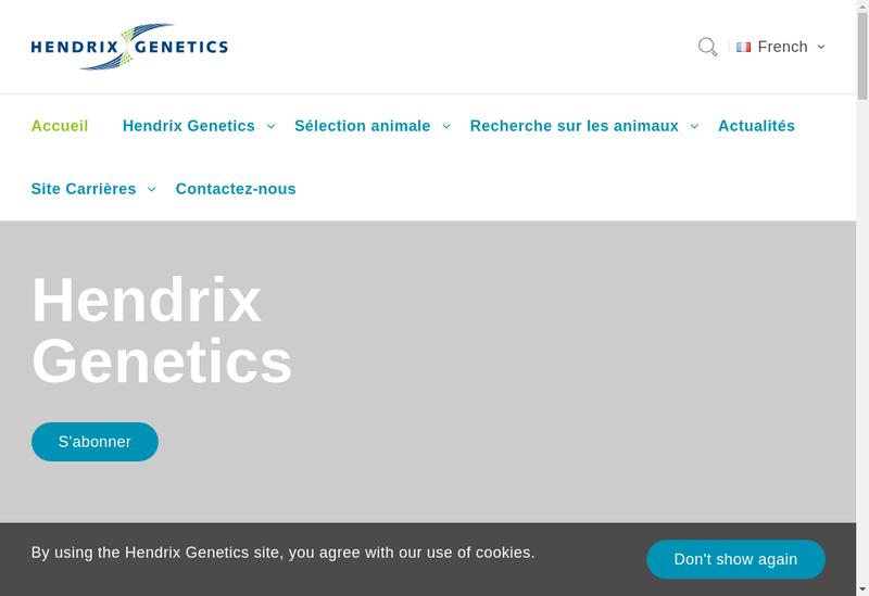 Capture d'écran du site de Hendrix Genetics Recherche Technologie
