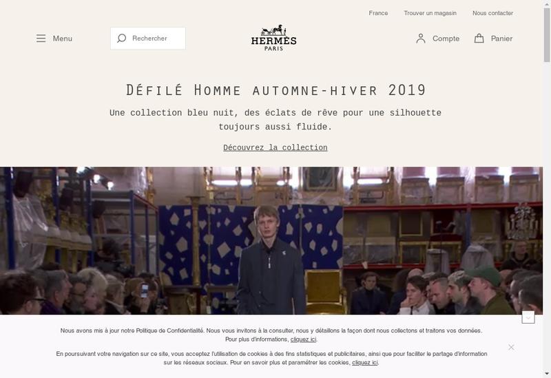Capture d'écran du site de Hermes