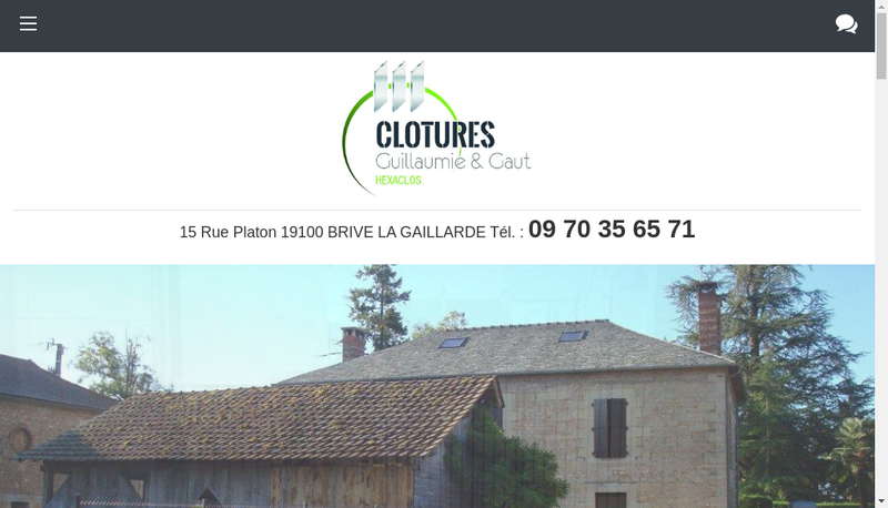 Capture d'écran du site de Clotures Guillaumie et Gaut