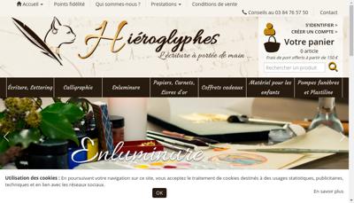 Capture d'écran du site de EURL Hieroglyphes