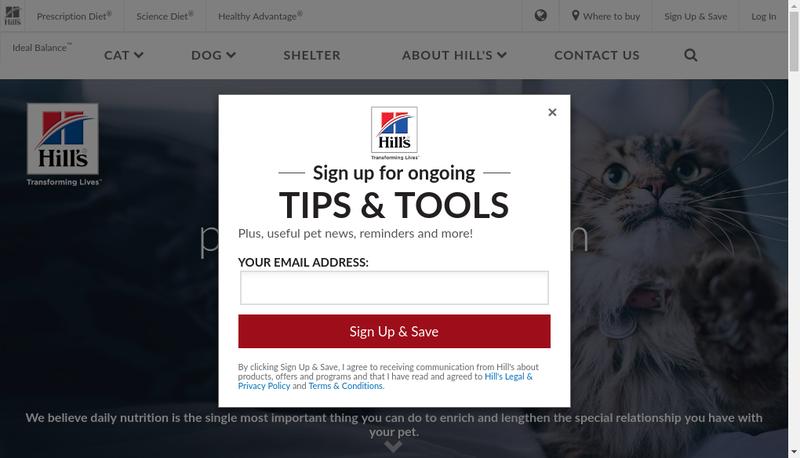 Capture d'écran du site de Hill S Pet Nutrition SNC