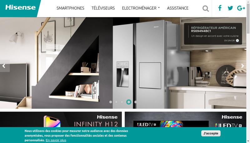 Capture d'écran du site de Hisense France