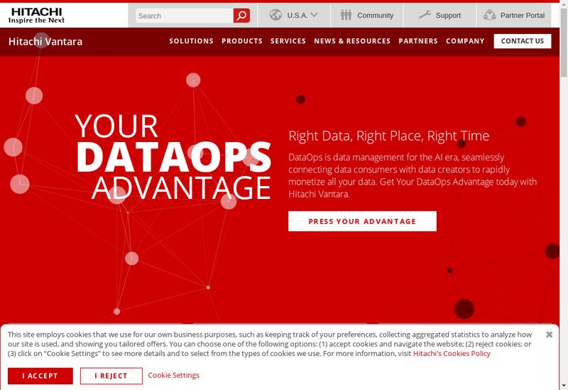 Capture d'écran du site de Hitachi Vantara SAS