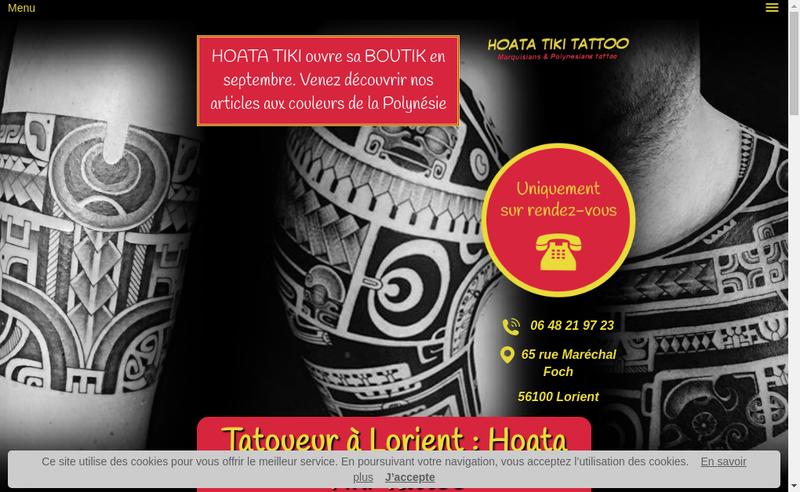 Capture d'écran du site de Hoata Tiki Tattoo