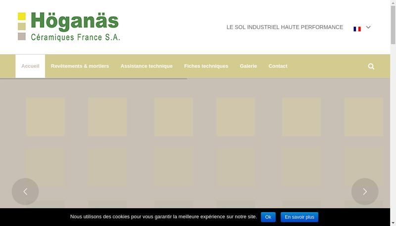 Capture d'écran du site de Hoganas Ceramiques France