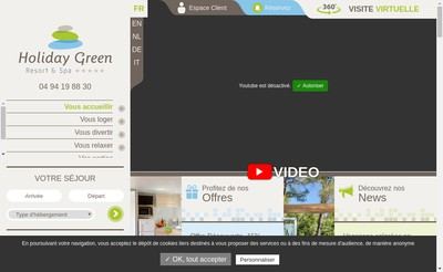 Site internet de Holiday Green