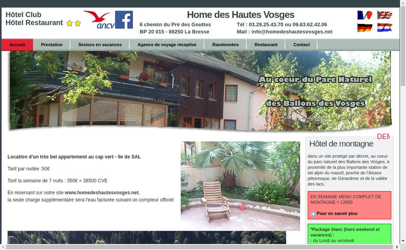 Capture d'écran du site de Home des Hautes Vosges