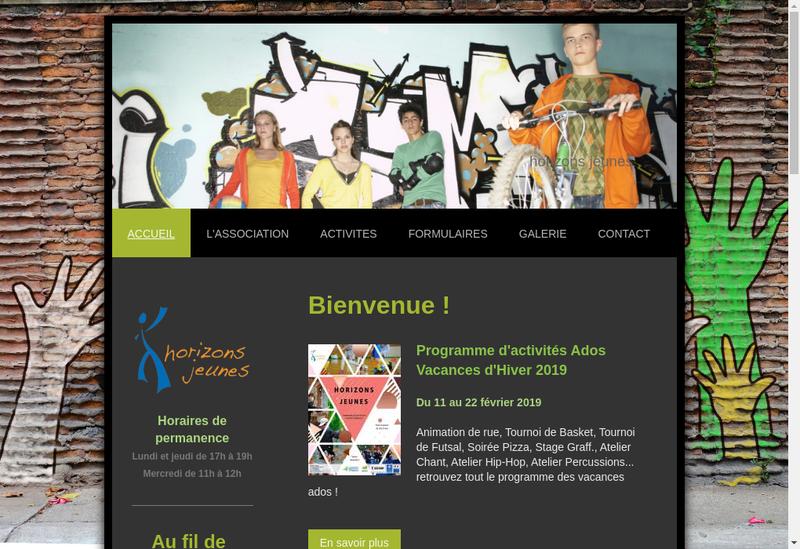 Capture d'écran du site de Horizons Jeunes