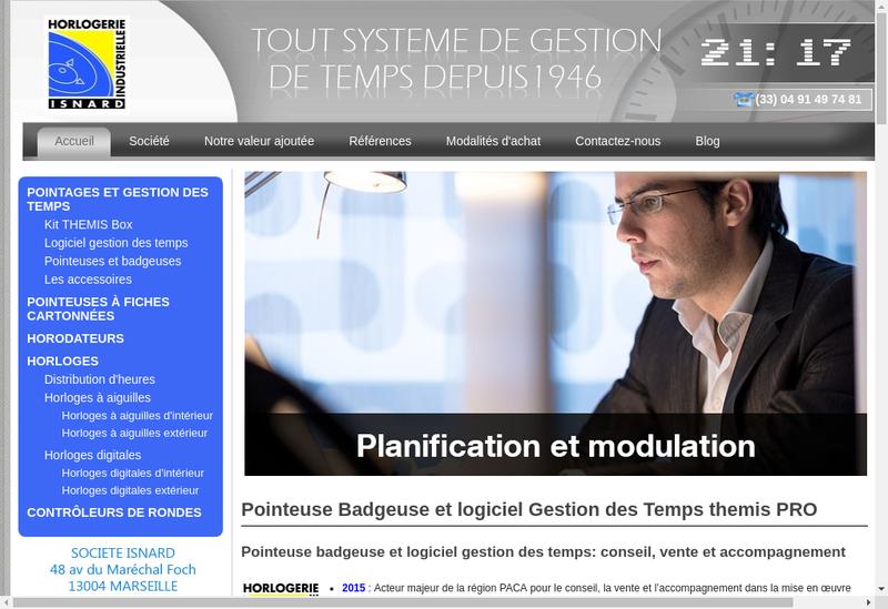 Capture d'écran du site de Pointeuse horaire - Societe Nouvelle des Etablissements ISNARD