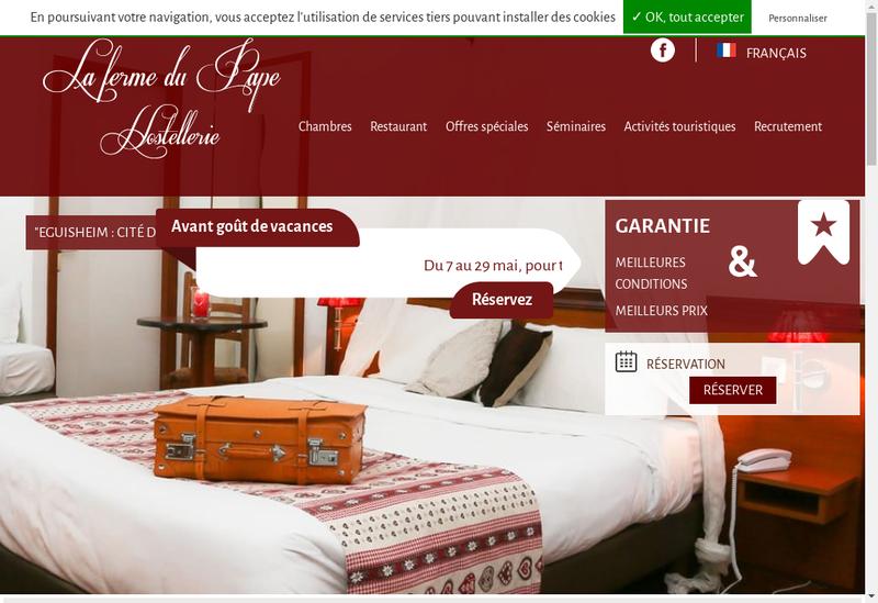 Capture d'écran du site de La Ferme du Pape Hostellerie
