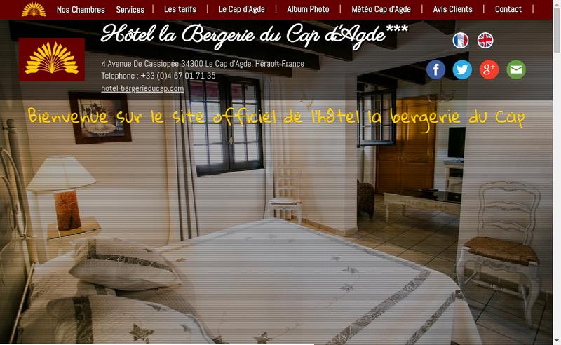 Capture d'écran du site de La Bergerie du Cap