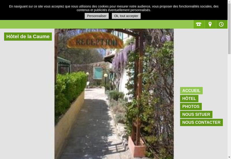 Capture d'écran du site de Hotel de la Caume