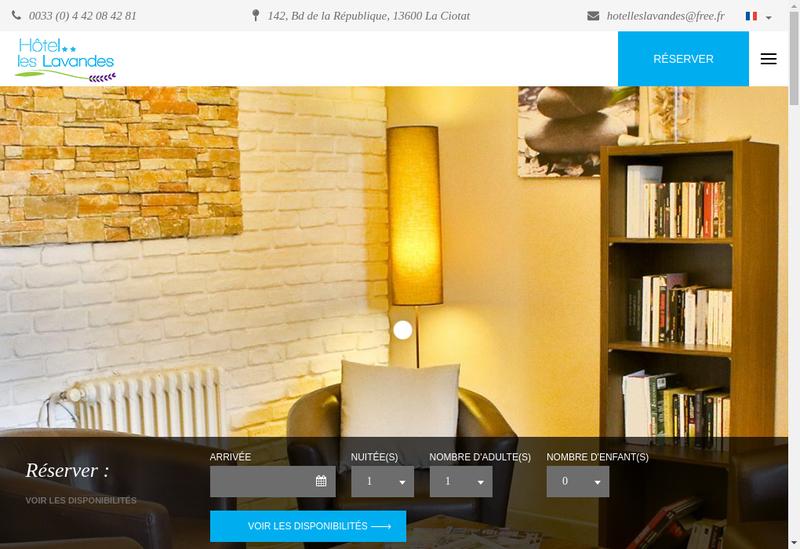 Capture d'écran du site de Hotel les Lavandes