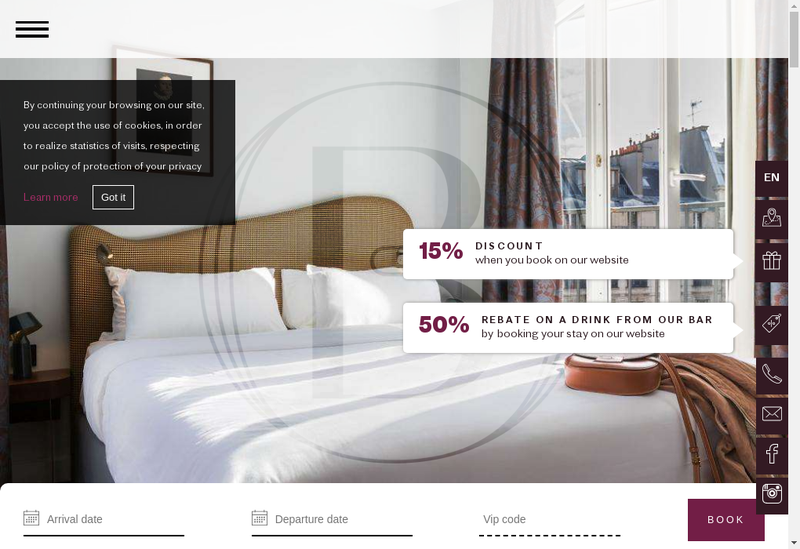 Capture d'écran du site de Hotel Belloy Saint Germain