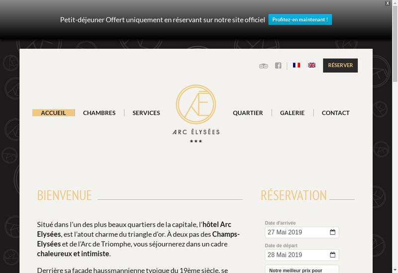 Capture d'écran du site de Hotel Arc Elysees
