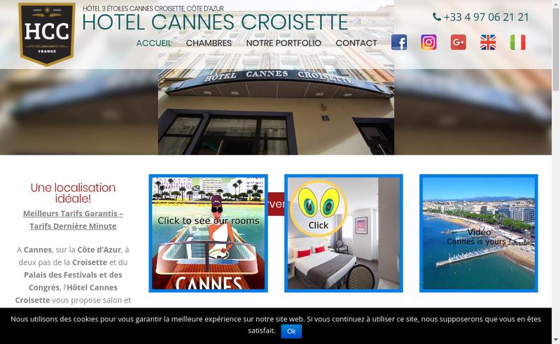 Capture d'écran du site de Hotel Cannes Croisette