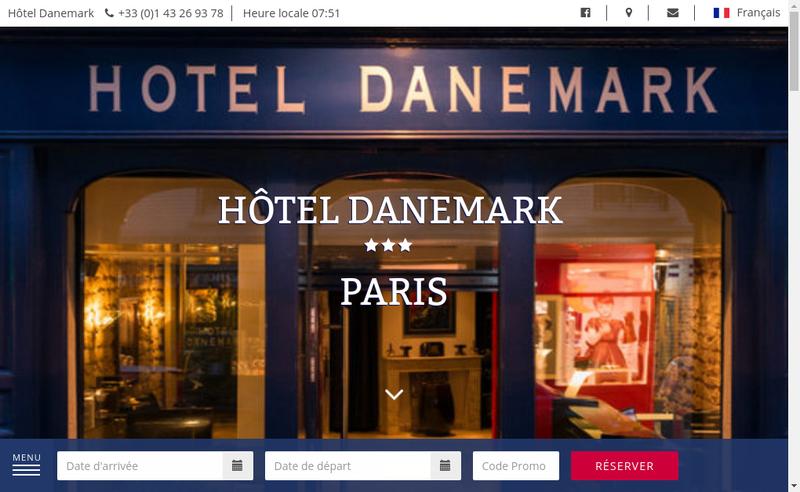 Capture d'écran du site de Hotel Danemark