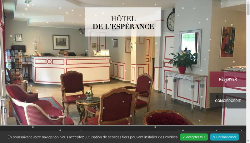 Capture d'écran du site de Hotel de l'Esperance
