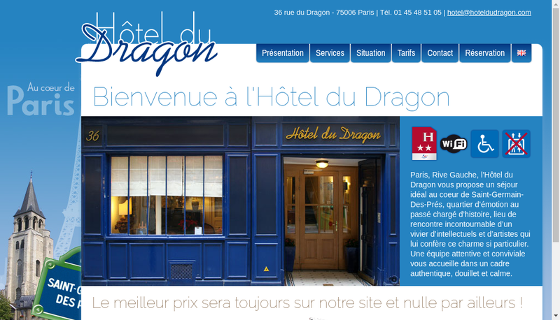 Capture d'écran du site de Hotel du Dragon