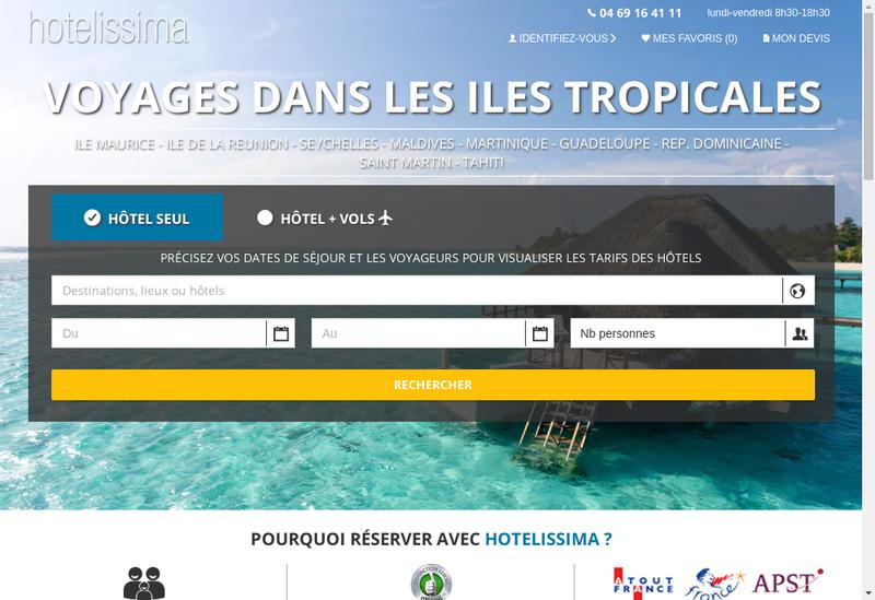 Capture d'écran du site de Hotels et Lagons