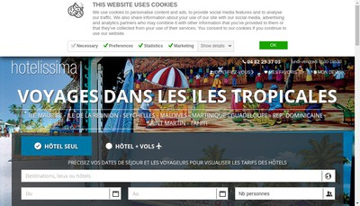 Site internet de Hotels et Lagons